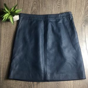 Topshop Navy Faux Leather Mini Skirt Navy Blue